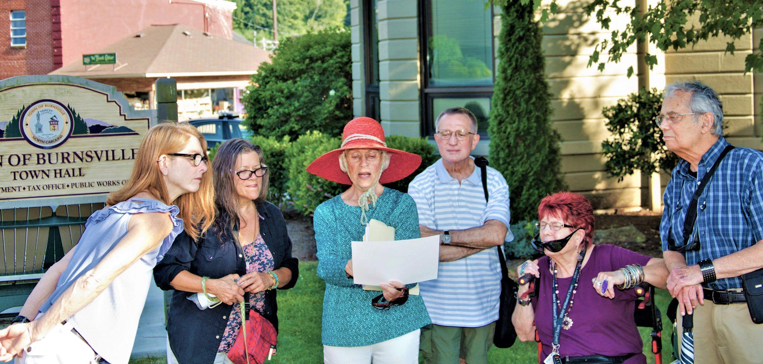 Burnsville NC Town Hall during walking tour of Burnsville by tour guide Ann Berdeen.